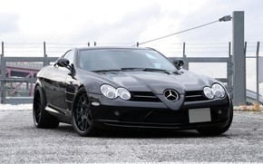 Mercedes Benz, McLaren, negro, frente, cielo, Mercedes