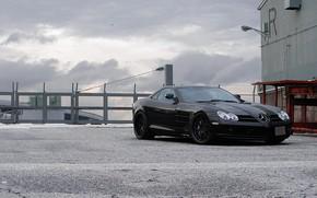 Mercedes Benz, McLaren, Black, front view, fencing, barbed wire, mercedes