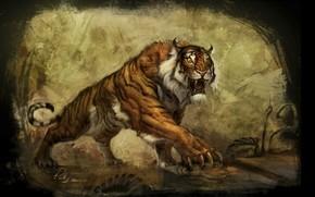 Lara, Croft, Raider, Tomb, underground, world, tiger, Concept, Art