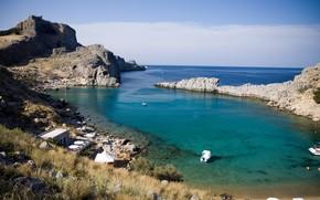 baia, spiaggia, costa, costa, mare, isola, paesaggio, natura, Grecia, Rodi