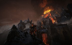 daemon, Mountains, fortress, volcano, flame