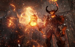 daemon, flame, hammer, fortress
