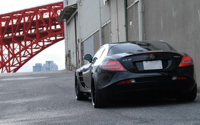 Mercedes Benz, SLR McLaren, Black, back of, wall, Pipe, gate, mercedes