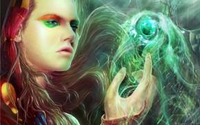 арт, девушка, магия, капюшон, макияж, сфера, шар