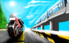 picture, motorcycle, train, metro, rate, road, motion