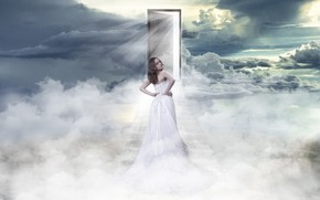 girl, door, clouds, sky, paradise