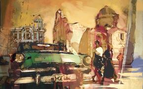 Denis Kovtun, disegno, Auto, edificio, giallo