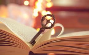 book, key, Page, macro, metal, lights