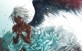 арт, девушка, крыло, перья, белые волосы