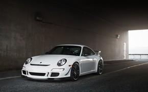 Porsche, white, front view, tunnel, porsche