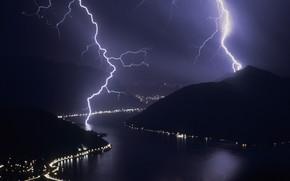 storm, Lightning, night