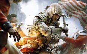 Connor, Assassino, Injun, arma, bandiera