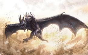 dragon, flight, vortex, dust