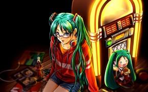 Art, Vocaloid, girl, chibi, headphones, glasses, shorts, food, Jukebox