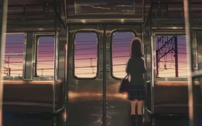 Art, anime, girl, train, sunset, car, schoolgirl, Wire