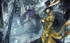 monster, girl, gun, tube, smoking, cloak, hat, city, traffic light, Wire