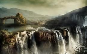 landscape, Mountains, waterfalls, rocks, sky, home, homestead