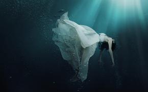 mer, eau, rayons, bulles, fille, habiller