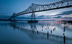 usa, oregon, state, bridge, river, evening, sunset, blue sky, clouds, reflection, США, Орегон, штат, мост, река, вечер, закат, синее небо, облака, отражение