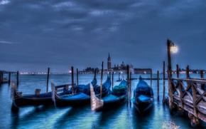 venice, italy, Venice, Italy, city, evening, night, wharf, channel, sea, Gondola