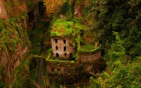 ущелье, зелень, дом, здание, руины, sorrento, заброшенность