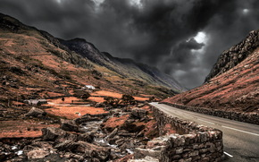 road, Mountains, sky