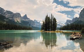 jasper national park, canada, maligne lake, Национальный парк Джаспер, Канада, озеро Малайн, остров Духов, горы, деревья, пейзаж, остров