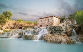 saturnia, italy, Saturnia, Italy, waterfalls, landscape, lodge
