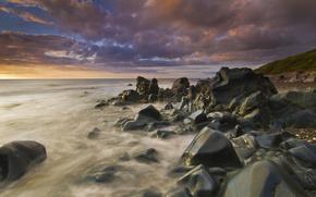 cielo, piedras, Naturaleza, mar, agua, las nubes