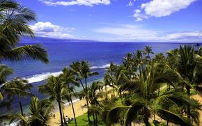 Тропики, hawaii, море, облака