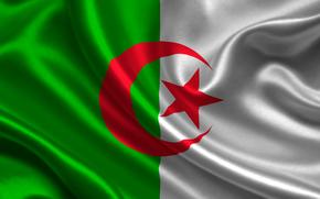 algeria, satin, flag, Algeria, Atlas, flag