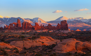 Utah, Arches National Park, tower arch, Mountains, light, sunset