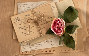 винтаж, ретро, цветок, роза, верёвка, открытки, письма