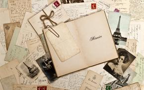 винтаж, ретро, блокнот, фотографии, сепия, марки