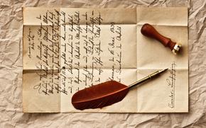 Vintage, retro, letter, line, pen, stamp