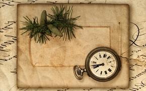 винтаж, ретро, пакет, бумага, шишки, часы
