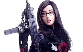 арт, девушка, азиатка, очки, оружие, белый фон