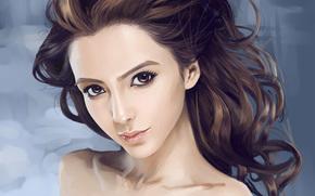 арт, девушка, лицо, волосы, взгляд, портрет, азиатка, кудряшки