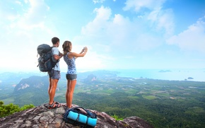 girl, guy, tourism, mountain, height, valley, sea, Backpacks, clouds