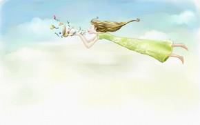 girl, long-haired, flight, dress, horn, Flowers, clouds