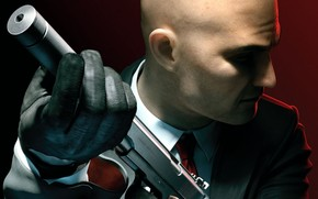 hitman, forty-seventh, bald, gloves, coat, tie, weapon, silencer