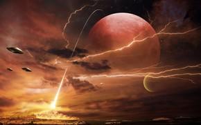 Art, Planet, Lightning, UFO, Ships, Mountains, beam, fire