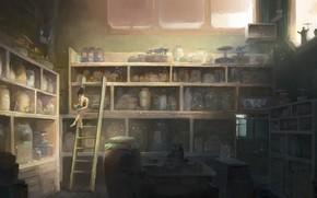 арт, девушка, книги, библиотека, лестница, чтение