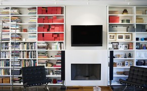 interior, design, TV, Books, chair, column