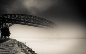 puente, ro, niebla, Ciudad