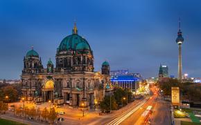 berlin, Берлин, germany, Германия, berliner dom, Берлинский кафедральный собор, вечер, дорога, выдержка, свет