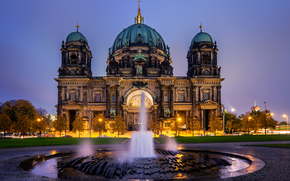 berlin, germany, berliner dom, Berlin, Germany, Berlin Cathedral, fountain, evening