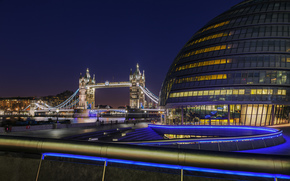 Londra, Inghilterra, Gran Bretagna, Londra, Inghilterra, Regno Unito, tower bridge, Tower Bridge, City Hall, fiume, thames, Thames, notte, luce, ringhiera