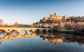 pont vieux, beziers, france, orb, Bezier, France, Old Bridge, river, Cathedral, building, landscape, reflection