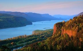 columbia river, река, лес, горы, пейзаж